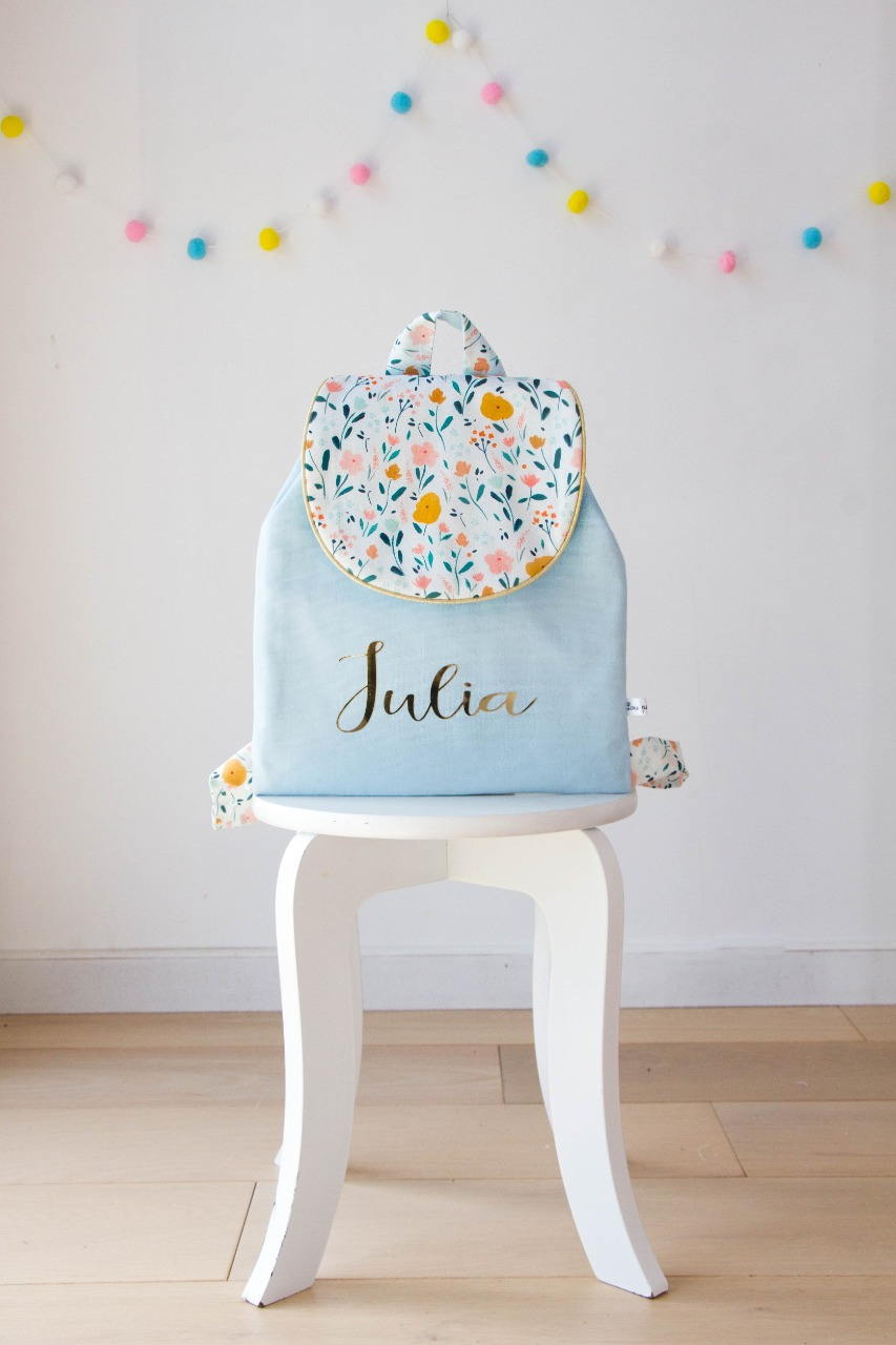 Cartable flower bleu ciel